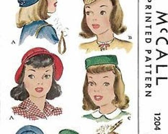 "Vintage 1940's Sewing Pattern Girls' Pillbox Bellhop Hats Millinery Head 21"" WW2"