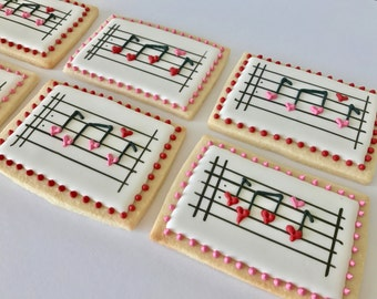Custom Cookies Valentine's Music Note Cookies, Sugar Cookies, Music Lover Cookies, Anniversary, Heart, Love, Birthday, Singer, Piano