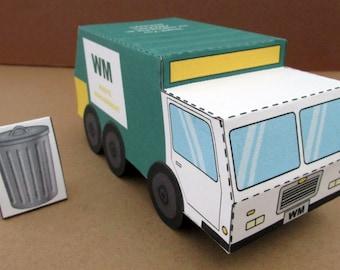 Garbage Truck Favor Box: DIY printable PDF with editable text