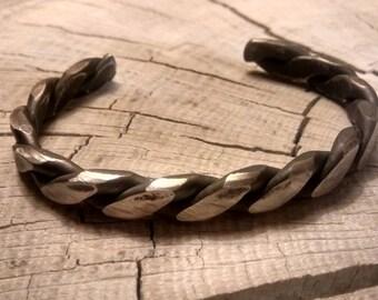 Stainless steel blacksmith-forged twisted cuff bracelet, artisan cuff bracelet