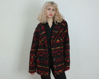 Vintage Wool Coat // 70s Southwest Jacket Button Up Geometric Patterned Tribal Print Oversized Womens - Extra Large xl