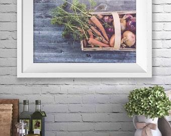 Produce Print, Vegetables Print, Food Art, Food Photography, Wall Art, Food Wall Art, Photography, Food Print, Instant Download Art