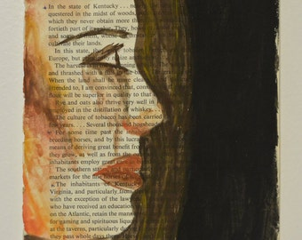 5x8 Warm Toned Face - Watercolor Painting - Book Pages - Wall Decor