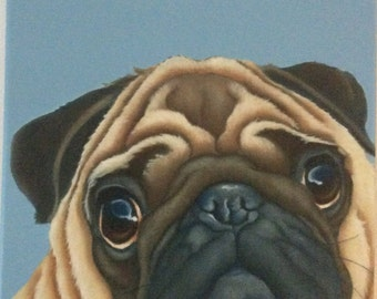 fawn pug painting on canvas