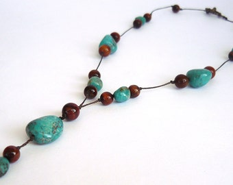 MatifDesign handmade real turquoise necklace with tiger eye