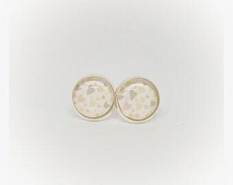 Cabochon earrings 12 mm heart pastel - earrings, Valentine's day, birthday, Easter, trendy,.