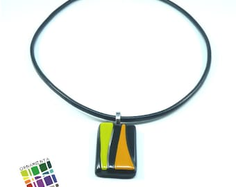 Necklace in leather and Fused Glass pendent