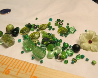 Signs of Spring, Green Vintage Bead Lot