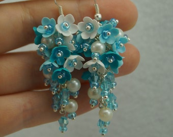 Long earrings with blue colors from polymer clay