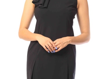 Kellie's Wool Classic Black Dress with Shoulder Ruffles
