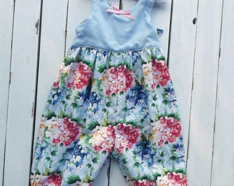 Size 1 Blue and Hydrangea Long Pant Romper