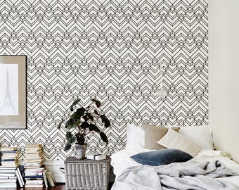 Temporary peel and stick wallpaper Vintage Abstract Black & White Chevron Geometric pattern Monochrome lines CC015