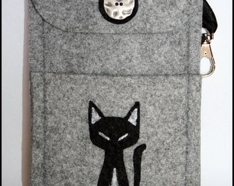 Phone Mobile  Case Felt Cover Felt cover iPhone Other Phone, hand made with cat appliqué