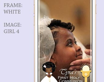 GIRL First Communion Geofilter,Holy Communion Filter,Cartoon Drawing Communion Filter,Snapchat Geofilter Communion,Snapchat Filter Communion