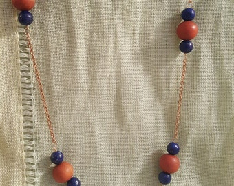 Smith Rock Necklace // Beaded Lapis & Sandalwood Chain Necklace // 26 Inches
