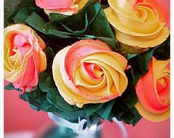 Organic Italian Meringue Buttercream Mini Cupcake Rosette Bouquet