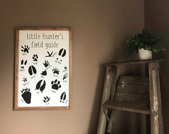 Little Hunter's Field Guide Wood Sign, Nursery Decor,  Baby Boy Nursery Decor, Nursery Wood Sign, Farmhouse Style Sign, Rustic Nursery Sign