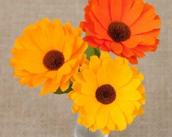 Calendula - Set of 3 pcs - Paper Flowers - Paper Anniversary - 1st Anniversary - Paper Flower - Paper Decor - Crepe Paper Flowers