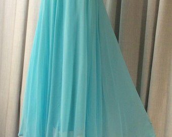 1960's Very pretty Turquoise blue, chiffon and lace ' Babydoll ' dress.