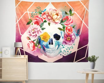 Sugar Skull Wall Tapestry, Skull Tapestries,Floral Skull Tapestry, Floral Skull Art, Skull Wall Hanging,Watercolor Tapestry