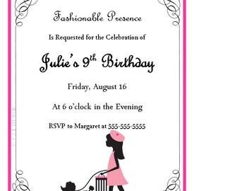 Paris Girl with Poodle Birthday Invitation, Paris Birthday Invitiaton, printable, download, digital file, pdf, French Bday Invite, 5x7