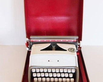 Vintage toy typewriter, children typewriter, Jolux super major machine, portable typewriter, kids toy, original vintage Christmas present