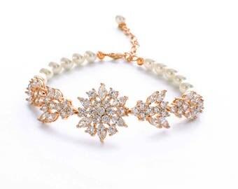 Gold cz bracelet, bridesmaid bracelet, cubic zirconia bracelet, zircon jewelry,  zircon bracelet, pearl bracelet, bridal pearl jewelry
