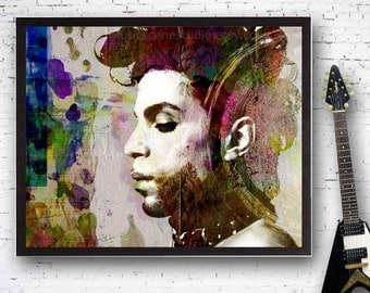 Prince, Prince Rogers Nelson, Prince Painting, Prince Singer, Prince Guitar, Mixed Media Rock n Roll, Funk Art, Guitar Player, Doves Cry