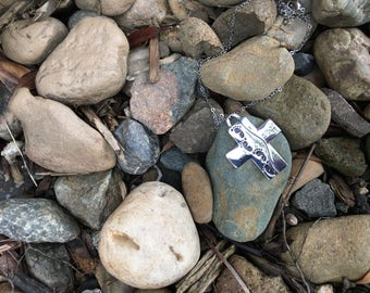 Footprints In the Sand Cross Necklace