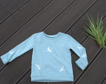 Beautiful, fresh coloured girls jumper, mint colour with machine embroidered dragonflies