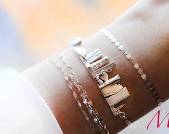 Sterling silver bracelet Miami cityscape silver bar bracelet name bracelet personalized bracelets silver jewelry stacking bracelet  on sale
