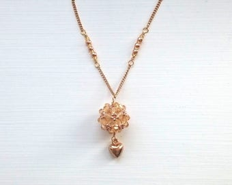 Light topaz/beige bead ball necklace with gold chain