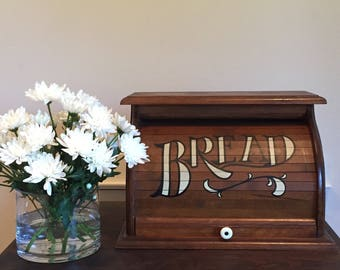 Vintage Wood Roll-top Breadbox