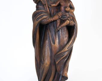 "RARE 22"" Large Antique Madonna with Child Jesus Wood Carving Figurine Hand Carved St Our Lady Blessed Virgin Mary Figure Christ 1"