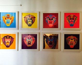 The Tigers, Original Artwork, Acrylic inlays in custom white frames