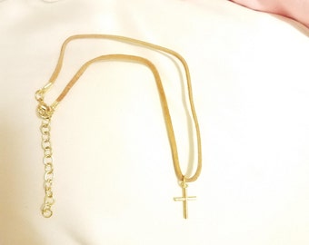 Caramel Suede Choker With Gold Cross Pendant