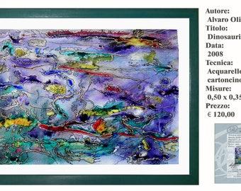 Art Watercolor Strong Dinosaurio y Tiburon 2008
