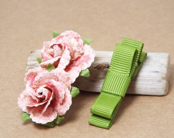 Baby Hair Clips, Small Hair Bows, Clip Set, Flower Clips, Tuxedo Bows, Pink, Raspberry, Alligator Clips