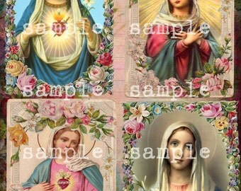 COLLAGE SHEET instant DIGITAL Download > Antique Holy Religious Prayer Cards > Printable Religious Cards > Victorian Floral Prayer Cards