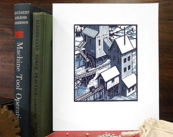 Lower Silver Mill - Reduction Linocut
