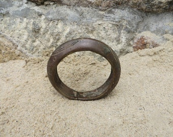 Old Chunky Brass Mali West African Currency Bracelet