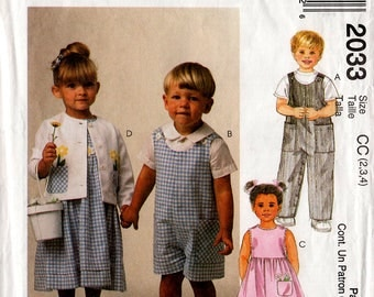 1999 Toddlers' DRESS Romper JACKET Shirt PATTERN Easy McCall's #2033 Size 2,3,4 Girls Boys Easter Spring Summer Clothes Vintage Sewing