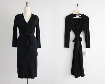 RESERVED ITEM! black cashmere dress | wrap dress | black wool dress