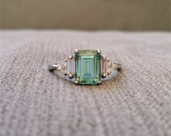 "Antique Mint Green Moissanite Diamond Engagement Ring Emerald Cut Baguette Classic White Gold timeless PenelliBelle Exclusive ""The Margo"""