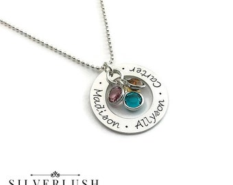 Gift for Mom - Custom Necklace - Hand Stamped Jewelry - Personalized Necklace - Mommy Jewelry - Birthstone Jewelry - Handstamped Gift