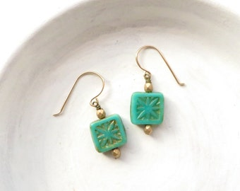Small Earrings // Turquoise Earrings  // Beaded Earrings // Classic Earrings // Gifts Under 15 // Gifts for Women // Gifts for Teen Girls