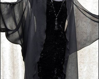 Ethereal Gothic Art Deco ~ Sheer Black Chiffon Batwing Sleeved Midi Cocoon Jacket Kimono Robe ~ Brand New by Kambriel