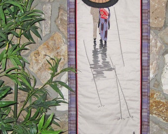 Quilted Wall Hanging A Stroll in the Rain Japanese Asian Design Scroll Size