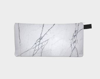 Grey Lines Marble Cosmetic & Pencil Case - Modern Printed Zipper Clutch - Marble Makeup Case