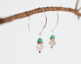 Threader Earrings Pink Dangle Earrings Sterling Silver Earring Romantic Drop Earrings Valentine Gift for Bride Gift for Her Gift for Wife